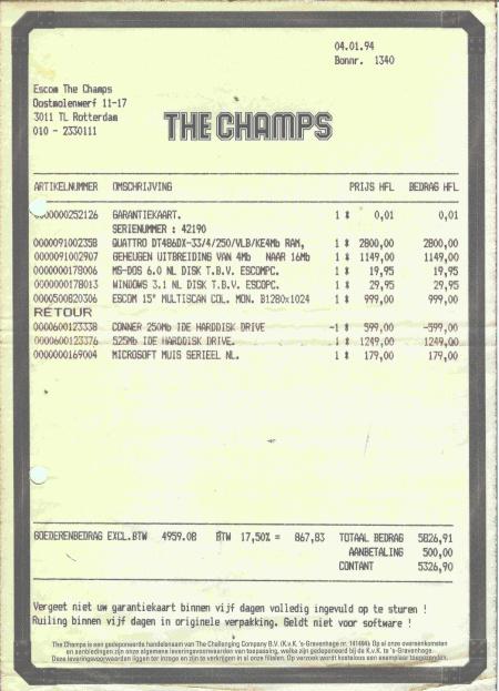 Factuur Escam PC 1994