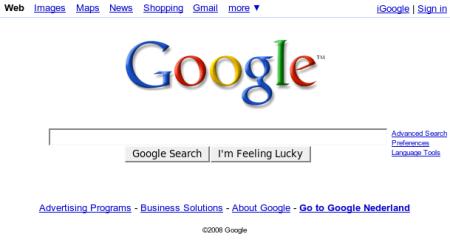 Google openingspagina